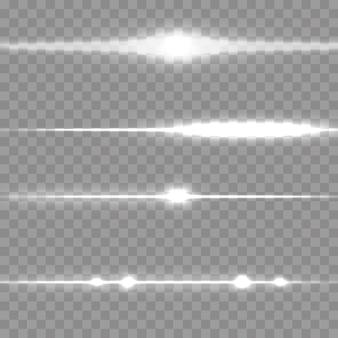 Poziome rozszerzenie. wiązki laserowe, poziome wiązki światła.