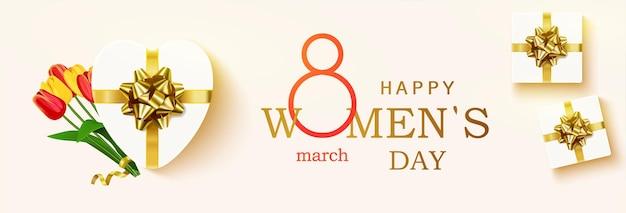 Poziome szczęśliwego dnia kobiet.