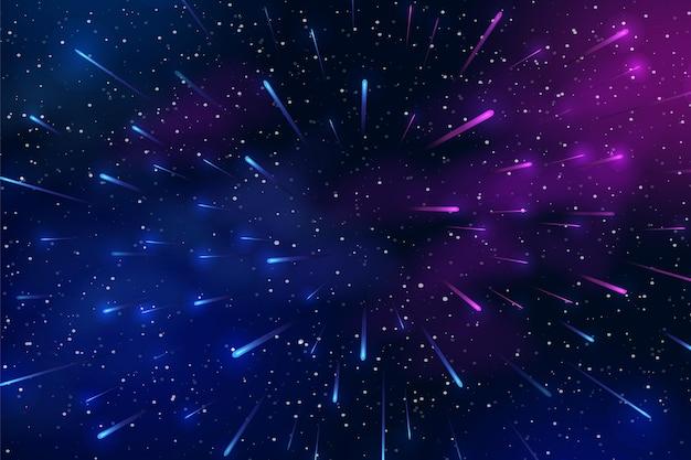 Poziome tło kosmiczne z realistyczną mgławicą