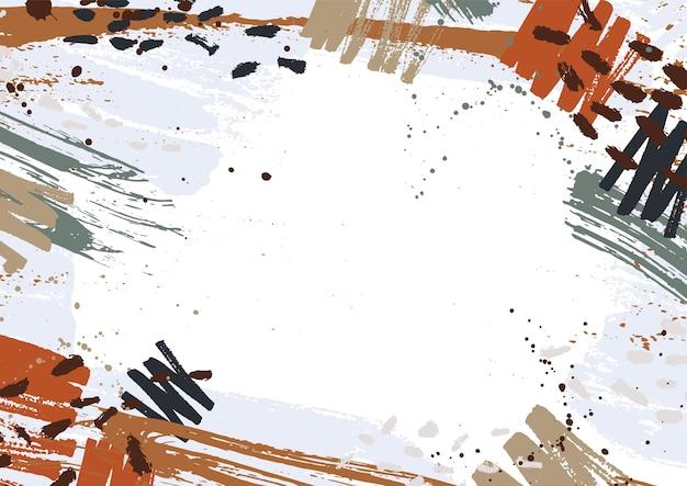 Poziome tło ozdobione kolorowymi plamami farby, plamami, bazgrołami i pociągnięciami pędzla