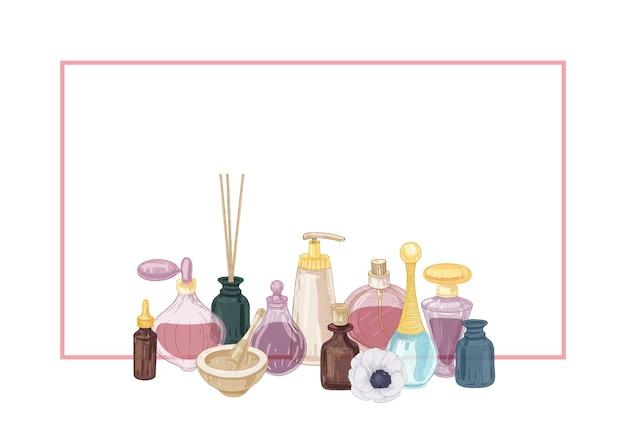 Poziome tło ramki ozdobione perfumami i kosmetykami w szklanych kolbach, kadzidełkach, moździerzu i tłuczku