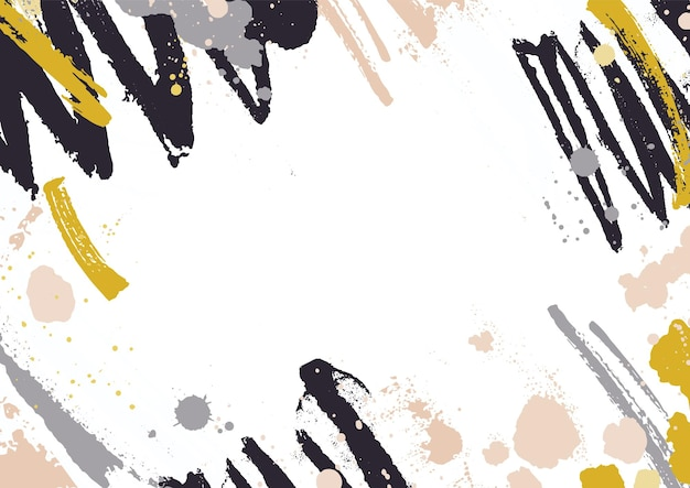 Poziome tło z abstrakcyjnymi żółtymi i czarnymi plamami farby, plamami i pociągnięciami pędzla na białym tle