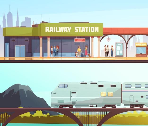 Poziome transparenty dworca kolejowego i mostu