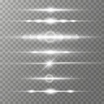 Poziome wiązki lasera. promienie światła. świetliste świecące linie na białym tle.