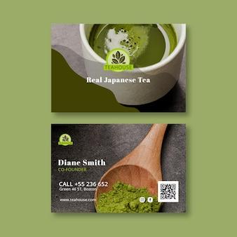 Poziome Wizytówki Herbaty Matcha Premium Wektorów