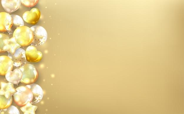 Poziome złote balony premium tło.