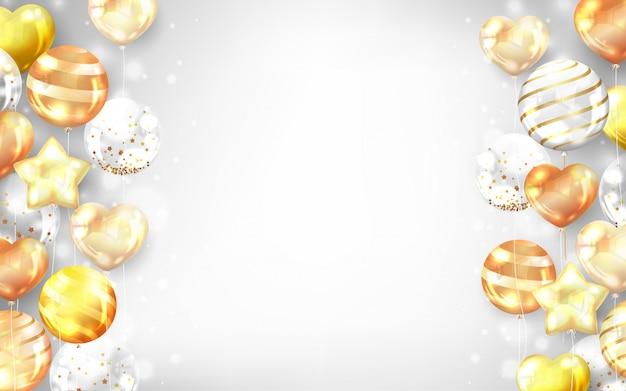 Poziome złote balony tło.