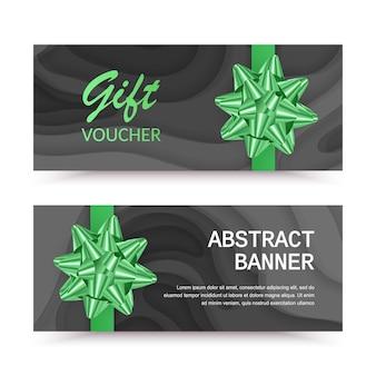Poziomy baner bonów upominkowych z zieloną kokardą może być używany jak wyprzedażowe kształty wycinane z papieru
