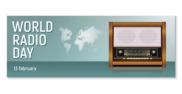 Poziomy baner dla radia światowego