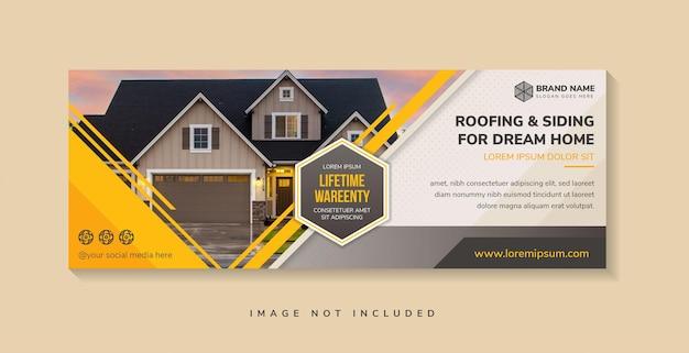 Poziomy baner do pokrycia dachowego i bocznicy dla kreatywnej koncepcji wymarzonego domu dla szablonu reklamowego