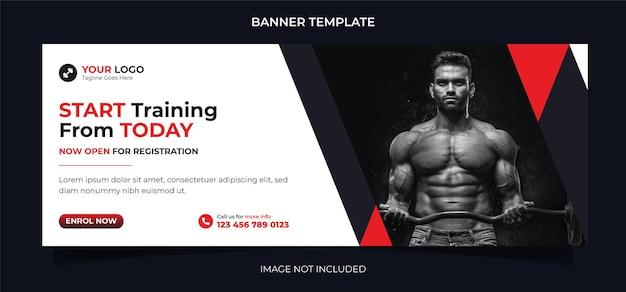Poziomy baner internetowy koncepcji fitness lub szablon okładki na facebooku do ćwiczeń i treningu na siłowni