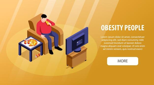 Poziomy baner izometryczny otyłości