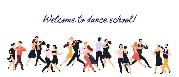 Poziomy baner lub tło z parami eleganckich mężczyzn i kobiet tańczących tango na białym tle.