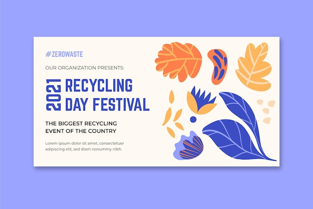Poziomy baner na festiwal recyklingu dnia