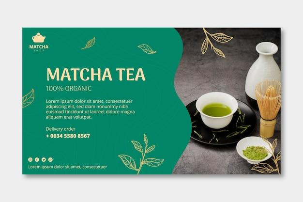 Poziomy baner na herbatę matcha