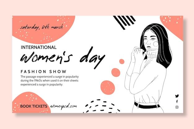 Poziomy baner na międzynarodowy dzień kobiet