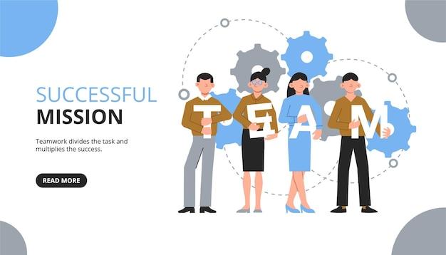 Poziomy baner pracy zespołowej z klikalnym tekstem przycisku i grupą współpracowników z literami i ikonami kół zębatych