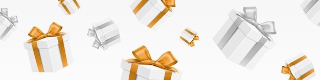 Poziomy baner spadających białych pudełek prezentowych