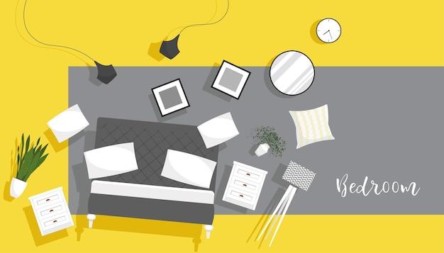 Poziomy baner sprzedaży wnętrz z meblami do sypialni unoszący się na modnym kolorowym tle. ilustracja