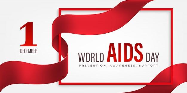 Poziomy baner światowy dzień pomocy z czerwoną wstążką i kwiatem