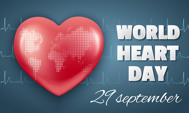 Poziomy baner światowy dzień serca 29 września. czerwone serce i kardiogram.
