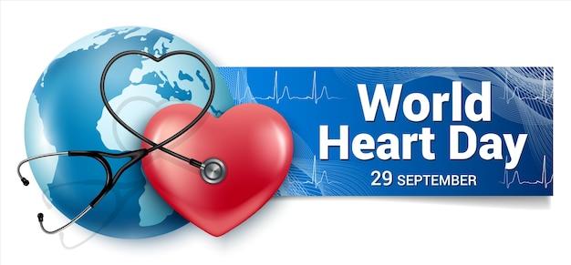 Poziomy baner światowy dzień serca września. czerwone serce, kula ziemska, stetoskop