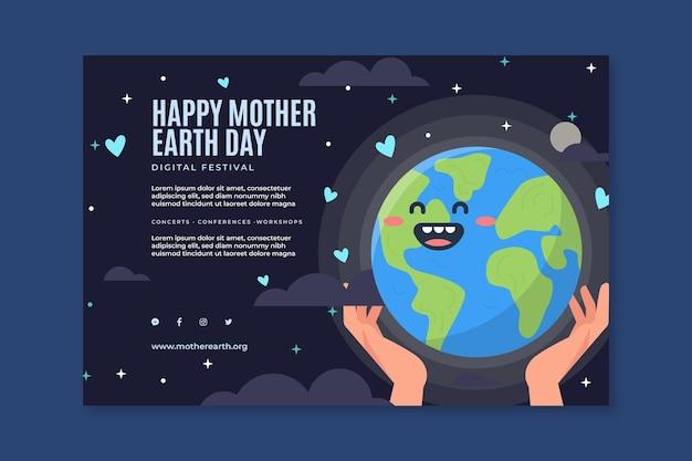 Poziomy baner szablon na obchody dnia matki ziemi