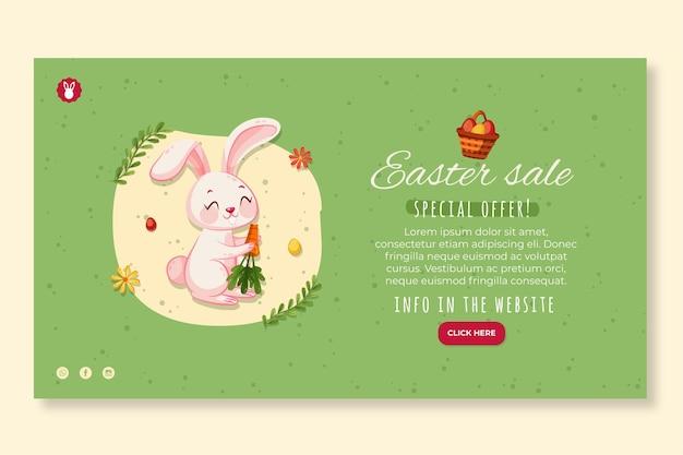 Poziomy baner szablon na wielkanoc z królikiem i marchewką