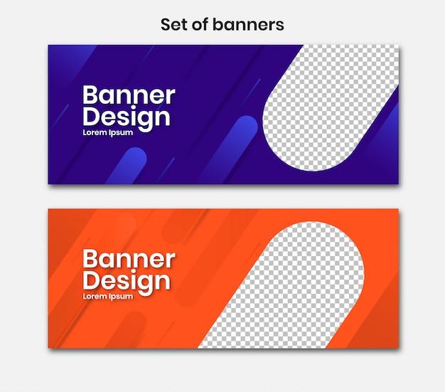 Poziomy baner z 3d niebieski i pomarańczowy design