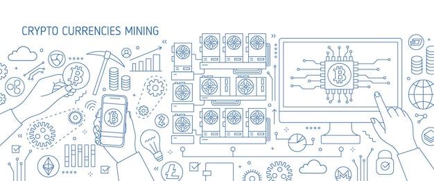 Poziomy baner z monitorem komputera, ręka trzyma smartfon, symbole bitcoin. farma, sprzęt lub sprzęt do wydobywania kryptowaluty lub waluty cyfrowej. ilustracja wektorowa w stylu sztuki linii