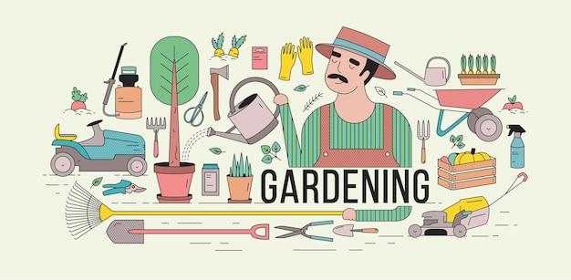 Poziomy baner z ogrodnikiem w kapeluszu podlewającym drzewo doniczkowe w otoczeniu sprzętu ogrodniczego i rolniczego, narzędzi, roślin ogrodowych i warzyw