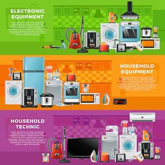 Poziomy baner z różnymi technikami gospodarstwa domowego