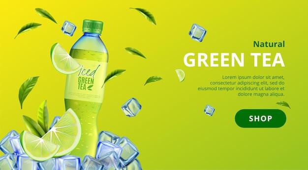 Poziomy baner zielonej herbaty