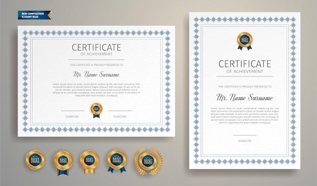 Poziomy i pionowy niebieski szablon linii granicy certyfikatu z luksusowymi odznakami licencjackimi