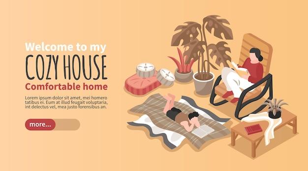 Poziomy izometryczny przytulny baner domu z dwiema osobami siedzącymi na bujanym fotelu, leżącymi na kocu i czytającymi 3d