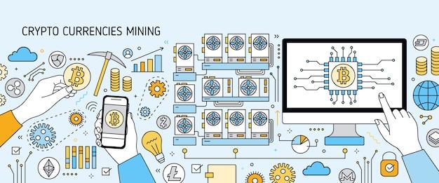 Poziomy kolorowy baner z wyświetlaczem komputera, ręka trzymająca telefon, symbole bitcoin. platforma, farma lub sprzęt do wydobywania kryptowaluty lub cyfrowej waluty. ilustracja w stylu sztuki linii