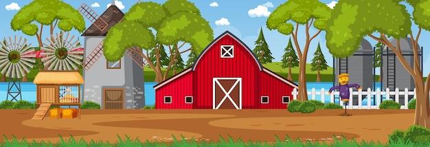 Poziomy krajobraz farmy w scenie dziennej