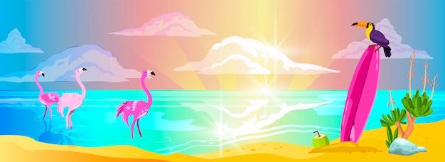 Poziomy krajobraz morski z wyspami, falami, różową deską, flamingiem, rozbłyskami na wodzie i chmurami.