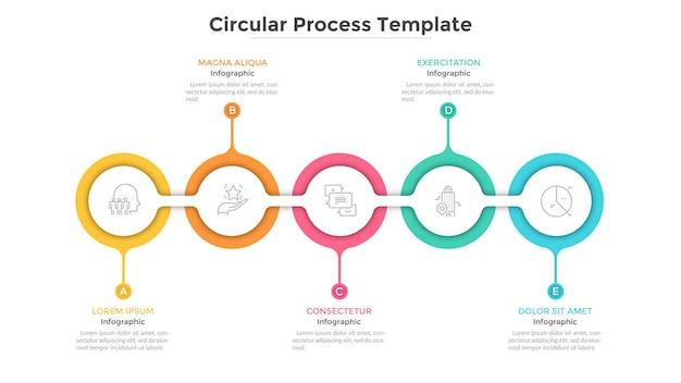 Poziomy łańcuszek z 5 połączonymi okrągłymi białymi ogniwami z papieru. koncepcja pięciu kroków progresywnego rozwoju biznesu. szablon projektu płaski plansza. ilustracja wektorowa czyste do prezentacji.