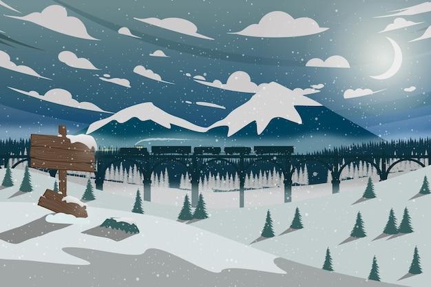 Poziomy nocny zimowy krajobraz z pociągiem górskim i lasem