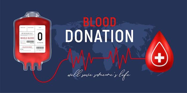 Poziomy plakat oddawania krwi z realistycznym pojemnikiem medycznym