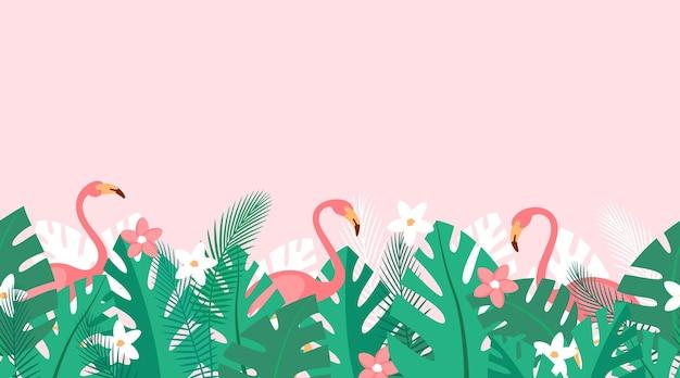 Poziomy powtarzający się wzór z kwiatów tropikalnych roślin i różowych flamingów lato w tle