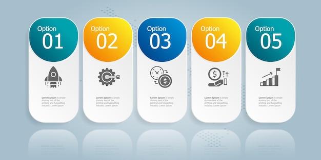 Poziomy szablon elementu prezentacji infografiki z ikoną biznesu 5 opcji wektor ilustracja tło