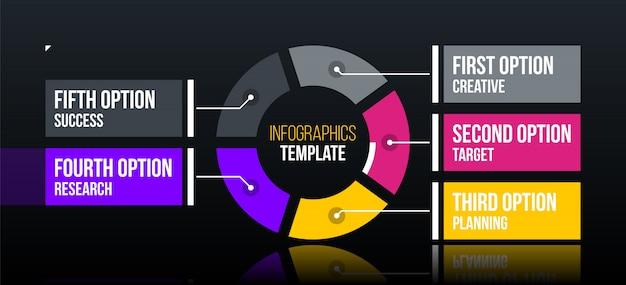 Poziomy szablon infografiki pie z pięcioma segmentami