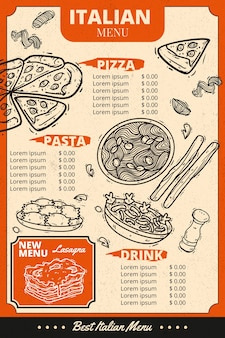 Poziomy szablon menu włoskiej żywności