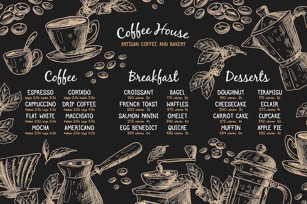 Poziomy szablon menu z kawą