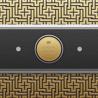 Poziomy szablon transparent na złotym tle metalicznej z bezproblemową geometryczny wzór.