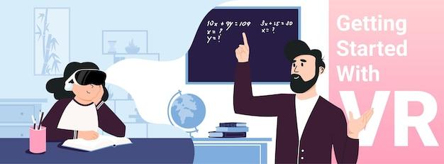 Poziomy szablon z uczącą się dziewczyną w sprzęcie vr. nauka online.