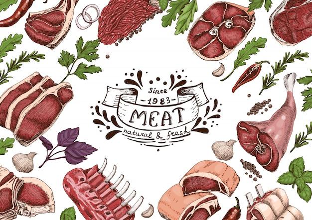 Poziomy tło z mięsami