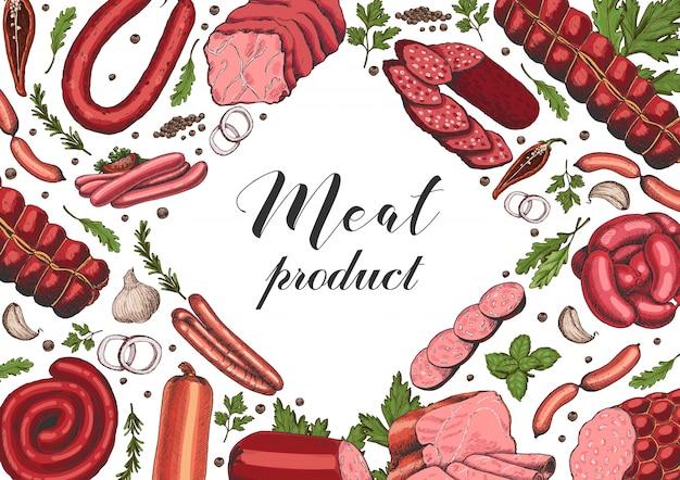 Poziomy tło z różnymi produktami mięsnymi